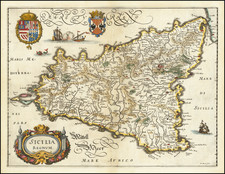 Sicily Map By Matthaeus Merian