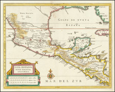 Mexico and Central America Map By Joannes De Laet