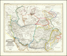 Central Asia & Caucasus and Middle East Map By Joseph Meyer