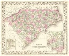 North Carolina and South Carolina Map By Samuel Augustus Mitchell Jr.
