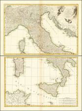 L'Italie divisee en ses differens Etats… [2 sheet map] By Giovanni Antonio Rizzi-Zannoni