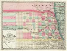 Nebraska Map By George F. Cram