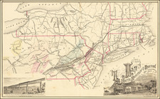 New England, Connecticut, Massachusetts, New York State, Mid-Atlantic, New Jersey and Pennsylvania Map By Reading Publishing House