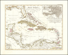 Florida, Caribbean, Hispaniola and Central America Map By Adolf Stieler