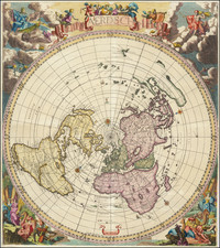 World and Polar Maps Map By Cornelis II Danckerts / Jacobus Robijn