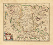 Albania, Kosovo, Macedonia and Greece Map By Willem Janszoon Blaeu