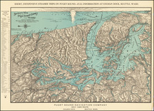 Washington, Pictorial Maps and Canada Map By Puget Sound Navigation Company