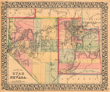 Southwest and Rocky Mountains Map By Samuel Augustus Mitchell Jr.