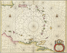 Puerto Rico, Other Islands and Venezuela Map By Anthonie (Theunis)   Jacobsz