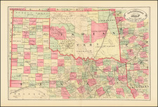 Texas and Oklahoma & Indian Territory Map By HS Stebbins