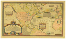Atlantic Ocean, United States, North America and Pictorial Maps Map By Ernest Clegg
