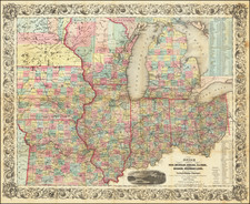 Illinois, Indiana, Ohio, Michigan, Minnesota, Wisconsin and Iowa Map By Joseph Hutchins Colton / J. Calvin Smith