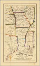 Louisiana, Mississippi, Arkansas, Texas, Illinois, Iowa, Kansas, Missouri and Oklahoma & Indian Territory Map By Anonymous