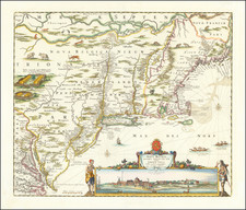 New England, New York State, Mid-Atlantic and Canada Map By Nicolaes Visscher I