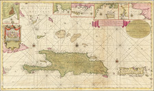 Caribbean, Hispaniola, Puerto Rico and Bahamas Map By Johannes II Van Keulen