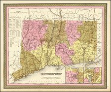 Connecticut Map By Samuel Augustus Mitchell