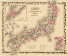 Japan Map By Alvin Jewett Johnson  &  Benjamin P Ward