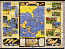 Florida, South, Southeast, Caribbean, Cuba, Hispaniola, Central America, Colombia, Pictorial Maps and Venezuela Map By Fruit Dispatch Company