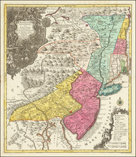 Pensylvania Nova Jersey et Nova York cum Regionibus Ad Fluvium Delaware In America Sitis, Nova Delinatione ob oculos posita . . . By Tobias Conrad Lotter