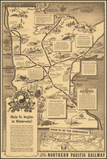 Minnesota and Pictorial Maps Map By Northern Pacific Rail Road