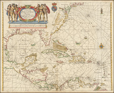 Mid-Atlantic, Florida, South, Southeast, Mexico, Caribbean, Bahamas and Central America Map By John Seller