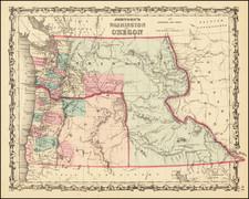 Idaho, Pacific Northwest, Oregon and Washington Map By Benjamin P Ward  &  Alvin Jewett Johnson