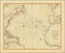 Atlantic Ocean and United States Map By Jonathan Carver  &  Carington Bowles II