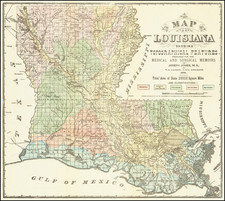 Louisiana Map By Thomas Sydenham Hardee