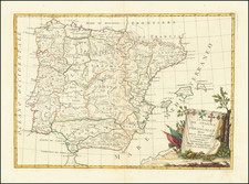 Spain and Portugal Map By Antonio Zatta