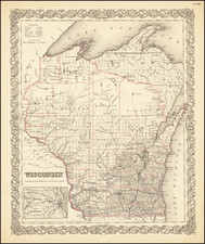 Midwest and Wisconsin Map By Joseph Hutchins Colton