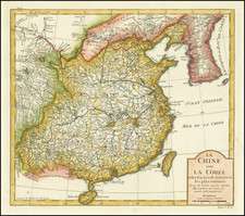 China and Korea Map By Jacques Nicolas Bellin