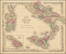 Southern Italy, Malta and Sardinia Map By G.W.  & C.B. Colton