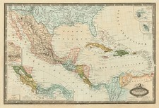 Mexico, Caribbean and Central America Map By F.A. Garnier