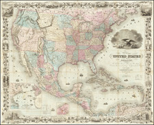 Colton's Map of the United States of America, The British Provinces, Mexico, The West Indies and Central America  . . . 1850  By Joseph Hutchins Colton