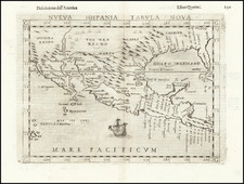 South, Texas, Southwest, Mexico and Baja California Map By Girolamo Ruscelli