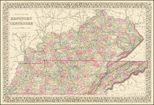County Map of Kentucky and Tennessee By Samuel Augustus Mitchell Jr.