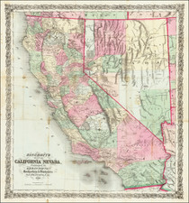 Nevada and California Map By H.H. Bancroft & Company