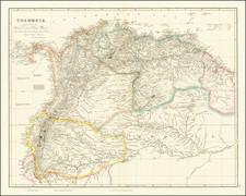Colombia, Guianas & Suriname, Peru & Ecuador and Venezuela Map By John Arrowsmith
