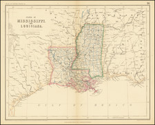 Louisiana and Mississippi Map By Henry Darwin Rogers  &  Alexander Keith Johnston