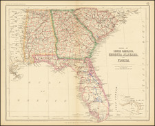 Florida, Alabama, Georgia and South Carolina Map By Henry Darwin Rogers  &  Alexander Keith Johnston