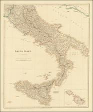 Southern Italy, Malta and Sicily Map By John Arrowsmith