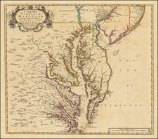 Mid-Atlantic, Maryland, Delaware, Southeast and Virginia Map By John Senex