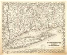 Connecticut Map By Joseph Hutchins Colton