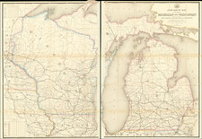 Michigan and Wisconsin Map By W. L. Nicholson
