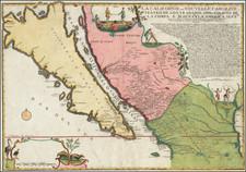 Southwest, Mexico, Baja California, California and California as an Island Map By Nicolas de Fer