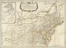 Southeast, Midwest, American Revolution, Canada and Eastern Canada Map By Lewis Evans / Sayer & Bennett