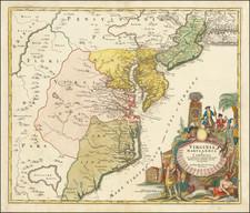Maryland, Delaware and Virginia Map By Johann Baptist Homann