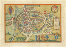 England and British Counties Map By Georg Braun  &  Frans Hogenberg