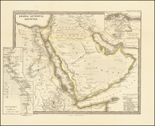 Middle East, Arabian Peninsula and Egypt Map By Justus Perthes