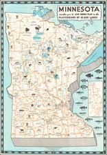 Minnesota and Pictorial Maps Map By Minnesota Tourist Bureau